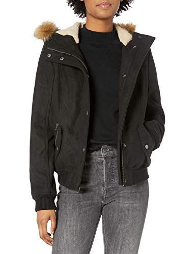 Levi's Women's Wool Blend Sherpa Lined Bomber Jacket with Faux Fur Trimmed Hood, Black, XL