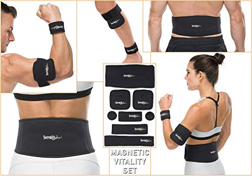 Serenity2000 Full Body Magnetic Vitality Set - 8 Piece Magnet Treatment System (Small/Medium - Waist up to 36