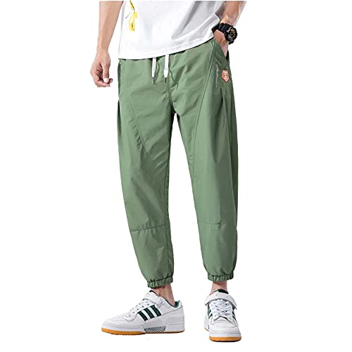 Qb Pantalones de Ropa Activa para Hombres Pantalones para Correr Pantalones Casuales Jogger de Deportes Chándal de chándal Elástico Sweetpants (Color : Green, Size : XXL)