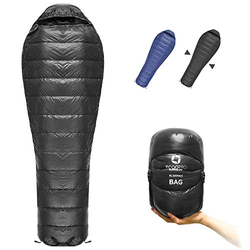 Mummy Down Sleeping Bag, 41 Degree F 600 Fill Power 4 Season Warm & Cold Weather - Ultralight Compact Portable Waterproof Camping Sleeping Bag with Compression Sack for Adults, Teen, Kids (2-Black)