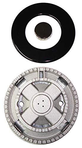 Meneghetti Dreifachbrenner mit extrem hoher Kranz Ø 128 mm komplett emaillierte Abdeckung für Gasherde - S3704+B