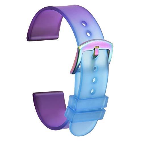 Ullchro Correa Reloj Calidad Alta Recambios Correa Relojes PU Caucho - 22mm, 24mm Correa Reloj con Acero Inoxidable Hebilla (24mm, Blue & Purple)
