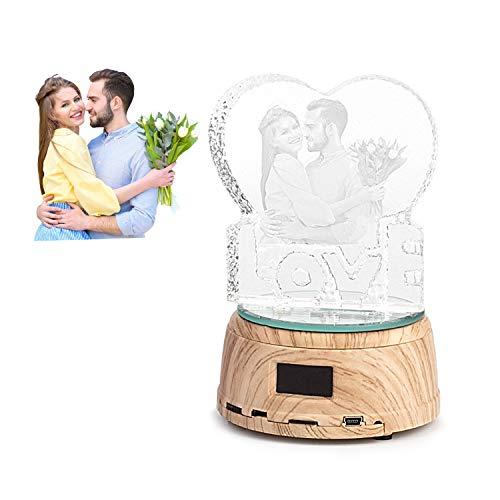 Leadleds Personalisiertes Foto-Nachtlicht, Bluetooth-Musik-Player, Plattenspieler, Display, Ständer, LED-Lampe, Geschenke für Frauen