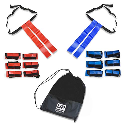 Unlimited Potential Flag Football Set,Premium Football Gear, Durable Flags - Set of 14 (7 Red / 7 Blue) + 6 Cones