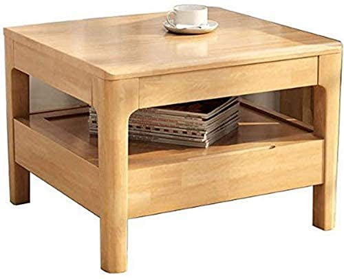 Coffee Table Side Table Coffee Table End Tables Oak Wood Square Coffee Table, Living Room Solid Wood Small Couch Table, Bedroom Reading Table with Drawer, 60*60*45cm Sofa Snack Table ( Color , Wood co