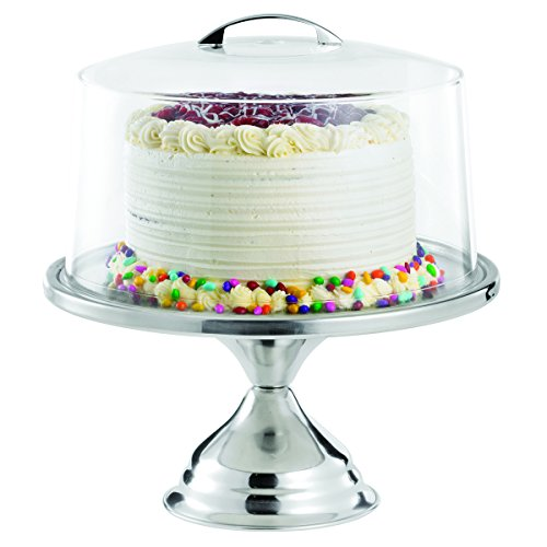TableCraft Products 821422 Cake Stand & Cover Set, 12.75' Dia x 13.75' H