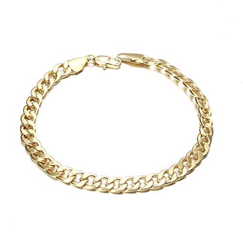 Pulsera de cadena, pulsera de acero inoxidable dorado, 6 mm de ancho, pulsera de eslabones de cadena de acera, joyería de moda
