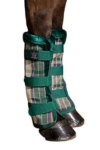 Kensington Natural Horse Fly Boots - Fleece Trimmed - Stay-Up Technology - Protection from Insect Bites and UV Rays - Sold in Pairs (2 Boots)