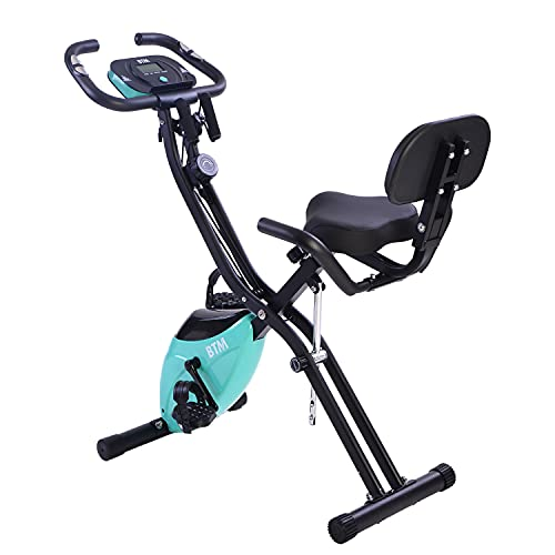 BTM G500 Folding Cycling Exercise Bike Indoor Fitness Training X Bike Lightweight for Home Cardio Workout, with Flywheel and Arm Resistance Bands (Aqua Flywheel) (Blue)