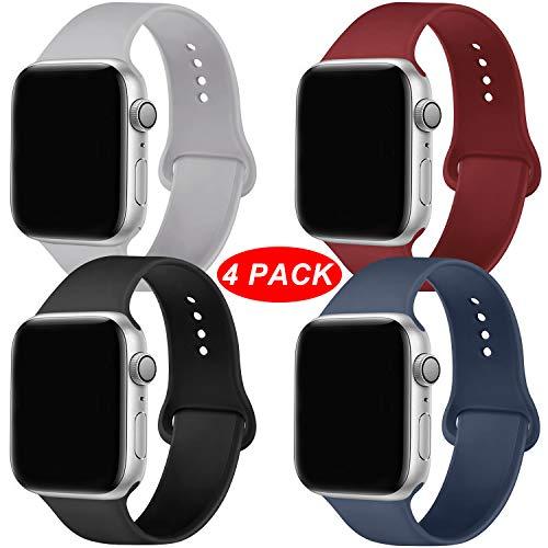 Qunbor Ersatz Armbänder für Apple Watch Armband 38mm 42mm 40mm 44mm, Pack 4, Ersatz für Weiches Silikon Armband für die iWatch-Serie 5/4/3/2/1
