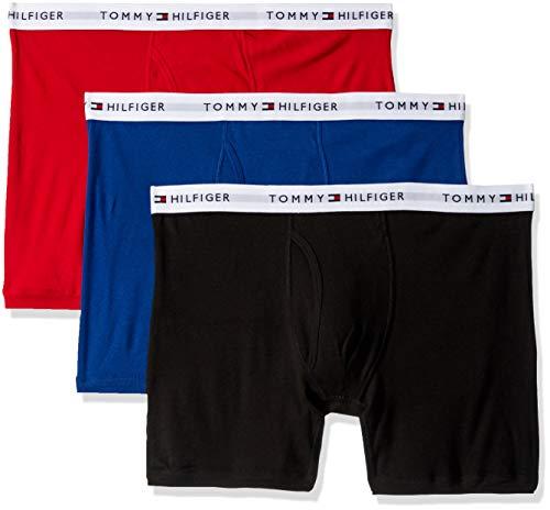 Tommy Hilfiger Men's Underwear Multipack Cotton Classics Boxer Briefs, Red Multi (Multi 3 Pack), L