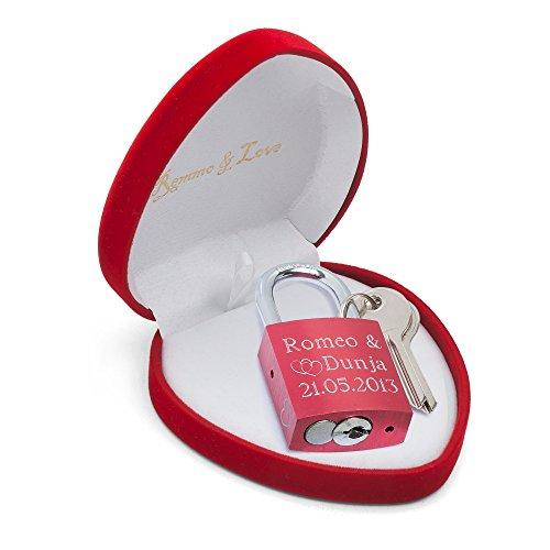 Romeo&Love Luxus Liebesschloss ROT in Herz-Box mit Gravur personalisiert Liebes Geschenk Valentinstag Jahrestag Hochzeitstag Hochzeit Geburtstag