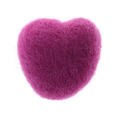 Kuvuiuee Pasgeboren fotografie props wol hart pasgeborenen hartvorm gevulde baby fotografie rekwisieten foto schot DIY hoofdtooi haarband hoed kleding decoratie Medium roze (pink)