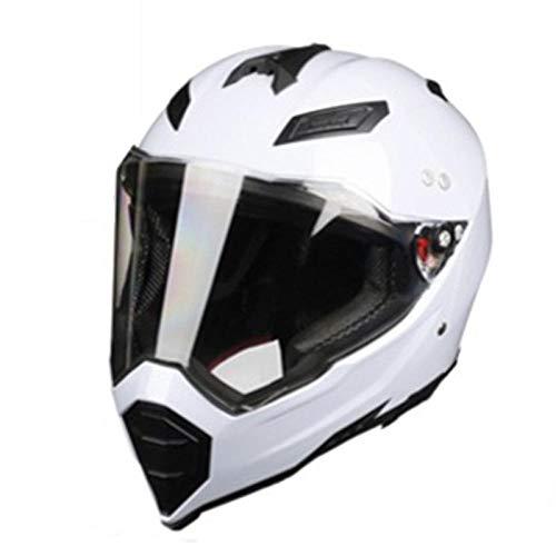 Claean-Acces-Home Kinder Helm Mate schwarz Dual Sport Offroad Motorradhelm Dirt Bike (M Blau) Vollgesicht-Weiß_XL