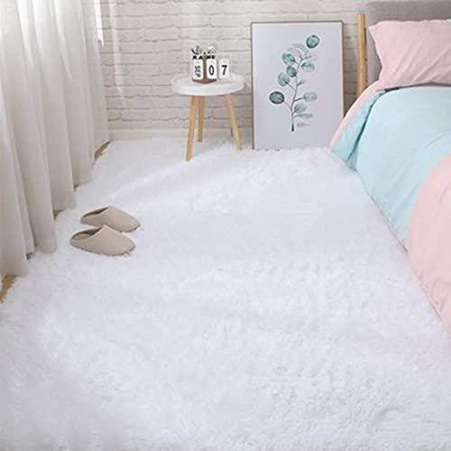 Alfombras Salon Grandes Cómodo y Suave Moderna Alfombra Antideslizante Alfombra Shaggy Adecuado para Sala de Estar Dormitorio Estudio Habitación Infantil(Blanco, 135*185cm)