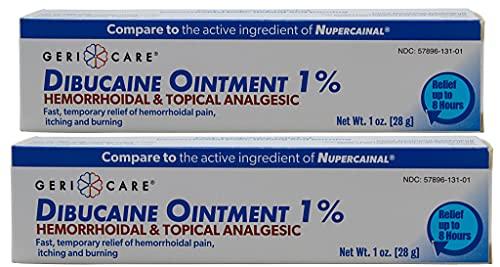 GeriCare Dibucaine Hemorroid Ointment 1%   Hemorroidal & Topical Analgesic, 1oz (2 Pack)