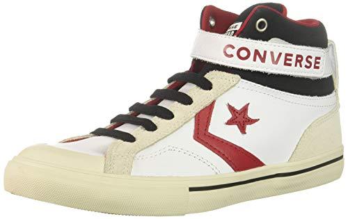 Converse Boys' Pro Blaze Strap Leather High Top Sneaker, White/EGRET/Turtledove, 1 M US Little Kid