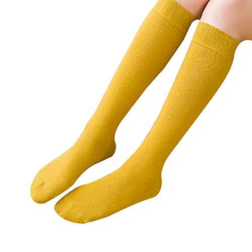 Haodou Pila de Calcetines Mujer Color Sólido Uniforme Media Pierna Pantorrilla Calcetines Japoneses Lindos Calcetines Universidad Viento Rodilla de Tubo Largo Calcetines del Estudiante (Amarillos)