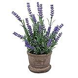 VOSAREA Fleurs artificielles en pot lavande artificielles en pot pour décoration de maison, jardin, extérieur, fête, mariage
