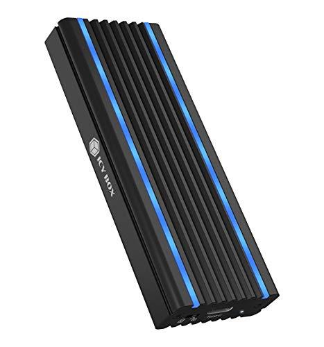 ICY BOX M.2 NVMe Gehäuse mit USB 3.1 Gen2, RGB LED Beleuchtung, Kühlsystem, USB-C, USB-A, PCIe M-Key SSD, Aluminium, Schwarz, IB-1824ML-C31