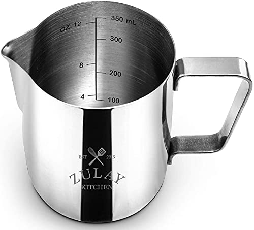 Frothing Pitcher – Best Milk Frother Steamer Cup - Easy to Read Creamer Measurements Inside - Foam Making for Coffee Matcha Chai Cappuccino Latte & Hot Chocolate – Stainless Steel 12oz/350ml