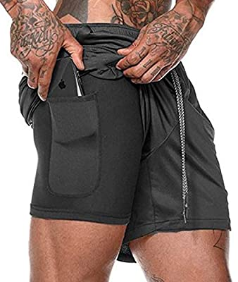 Mens Shorts Athletic Pants Running Short Zippered Pocket Shorts Athletic Black