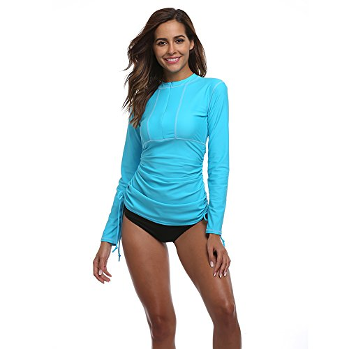 Women's Long Sleeve Rash Guard Wetsuit Swimsuit Top UV Sun Protection (901 L, Blue) Control Uv Long Sleeve Top