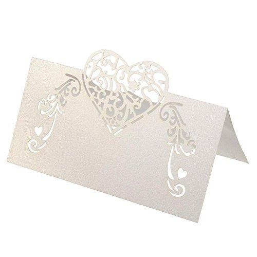 TOYMYTOY Cartoncini segnaposto per matrimonio con cuore in Bianco 50PCS