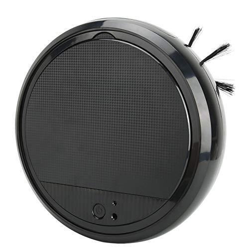 Barredora de Pisos Recargable USB de bajo Ruido con una Sola operación, Robot de Barrido 3 en 1, para Piso de casa, baldosas, mármol Blanco/Negro(Black)