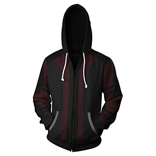 GYMAN Avengers Hawkeye Hoodies Windproof Fleece Pullover Sweatshirts Casual Jacket 3D Print Coat With Kangaroo Pocket For Warm Winter Clothing,2-Large