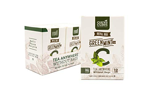 Green Mint Refill Box Cubed Tea - Pack of 6 (72 Loose Leaf Cubes) - Tea Bags Best Alternative - All Natural, Organic Ingredients