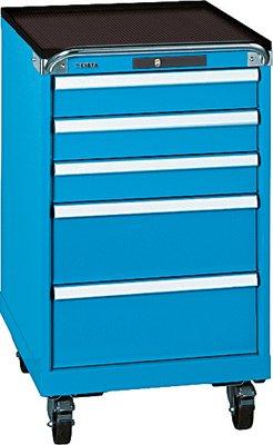 LISTA Schubladenschrank, Traglast/Schubl. 75 kg, fahrbar, 5 Schubladen: 3x100,2x200 mm, Zylinderschloss, B xTxH 564x725x990 mm, RAL 5012 lichtblau