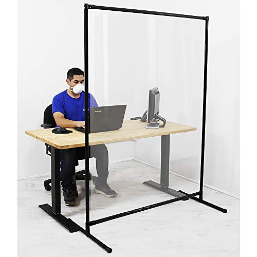 Featherlite Vinyl Sneeze Guard, Room Divider/Partitions by BenchPro. 70' H x 57' W x 24' D - Black