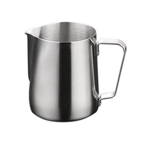 OUNONA 150ml Milch Aufsch?umkrug Edelstahl Milch Aufsch?umen Tasse Kaffee Milchaufsch?umer und Latte Maker (Silber)