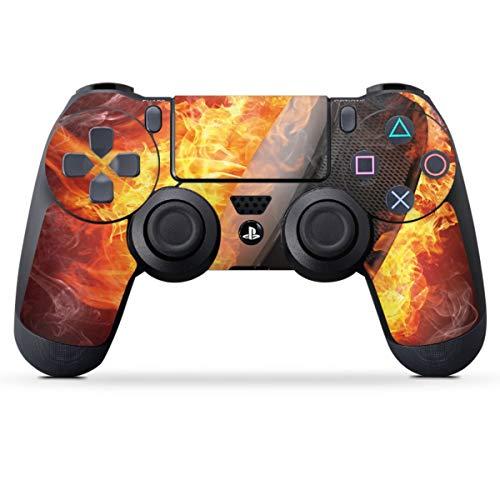 DeinDesign Skin kompatibel mit Sony Playstation 4 PS4 Controller Folie Sticker Eishockey Feuer