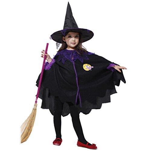 PRETYZOOM - Capa de bruja para disfraz de Halloween