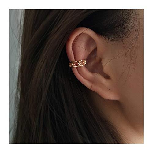 SHOYY Pendientes de aro de moda con cadena de eslabones de color dorado con borla en pendientes falsos piercing para la oreja no perforada (color metálico: B)