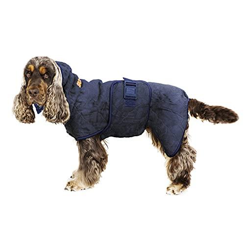 Siccaro Hundemantel WetDog Supreme Pro   Saugstarker Hundebademantel   Antibakteriell Geruchsreduzierend Bademantel Hund   Hundemantel für Kleine Hunde   Hundemantel Grosse Hunde (M, Blue Granite)