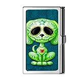 Porta tarjeta de visita con diseño astillado, caja de crédito con nombre de monedero de acero inoxidable para hombres y mujeres-Perro
