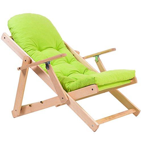 KFXL yizi Bois massif/tissu/chaise pliante réglable/balcon décontracté/baie vitrée Siesta canapé chaises/chaise de jardin multifonction (Couleur : Green)