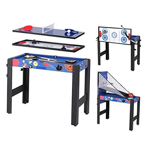 Multifunktionstischspiel Spieletisch 5 in 1 Tischspiel inklusive Billardtisch Basketball Tischtennis Hockey Pfeil und Boge 92cm*46cm*73cm