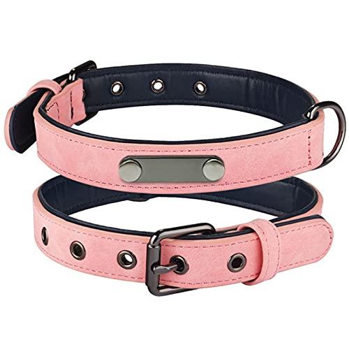 MRBJC Collar de perro de piel sintética acolchada suave para perros pequeños, medianos y grandes con hebilla ajustable y cómodo collar para mascotas, color rosa XS