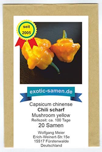Höllisch scharfes, gelbes Chili in Pilzform - Mushroom gelb - 20 Samen