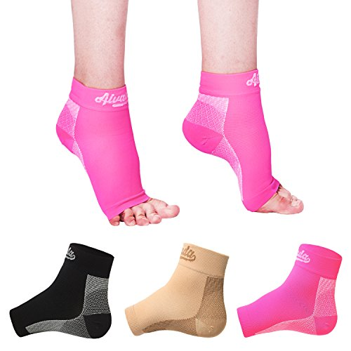 Alvada Plantar Fasciitis Support Compression Socks Foot Sleeves - Comfortable Arch Support - Quick Pain Relief, Reduced Soreness - Graduated Compression Brace - Faster Recovery Black LXL