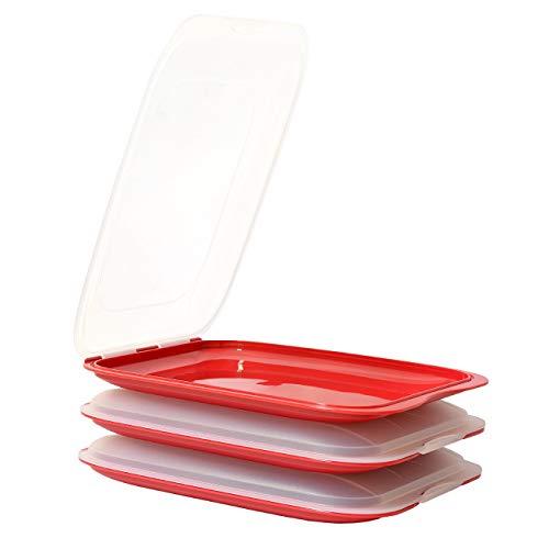ENGELLAND - Hochwertige stapelbare Aufschnitt-Boxen, Frischhaltedose für Aufschnitt. Wurst Behälter. Perfekte Ordnung im Kühlschrank, 3 Stück Farbe Rot, Maße 25 x 17 x 3.3 cm