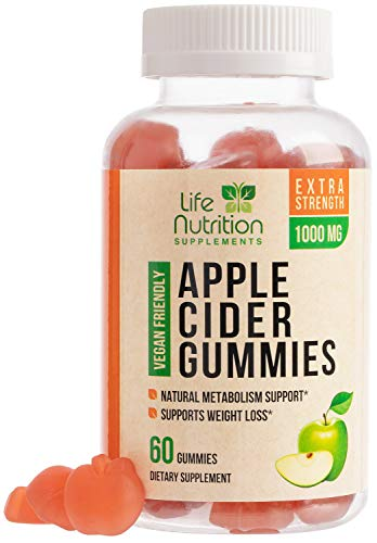 Apple Cider Vinegar Gummies for Weight Support and Cleanse 1000mg - Delicious Acv Gummy Vitamins with The Mother - Folic Acid, Beet Juice, Pomegranate - Non GMO - 60 Gummies