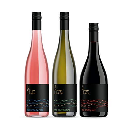 junge triebe | 3 echte Freunde | Probierpaket | easy riesling, breezy rosé, pretty red | Gutswein, Rheinhessen, vegan | 3x 0,75l