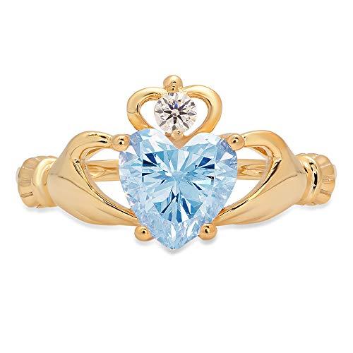 1.52ct Heart Cut Irish Celtic Claddagh Solitaire Aquamarine Blue Simulated Diamond CZ VVS1 Designer Modern Statement Ring 14k Yellow Gold, Size 7 Clara Pucci
