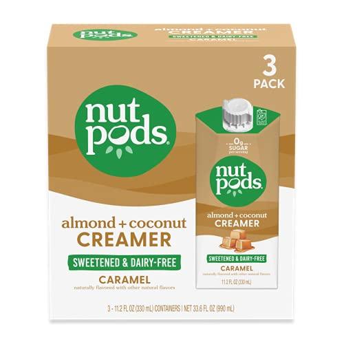 nutpods Keto-friendly Caramel Sweetened coffee creamer, Zero-Sugar, 5 Calories per serving, Dairy-Free, WW, Gluten Free, Non-GMO, Vegan, Kosher (3-Pack)
