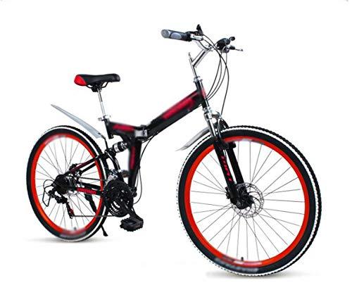 26' 27 velocidad bicicleta de montaña plegable, Bicicletas unisex, vuelo de la rueda de velocidad variable fuera de la carretera Bicicleta de montaña, Doble de absorción de choque Ruedas de radios Est